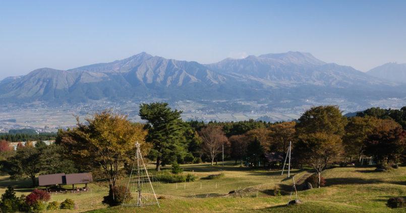 View over Aso caldera from Hotel Greenpia Minamiaso - Kyushu, Kumamoto prefecture