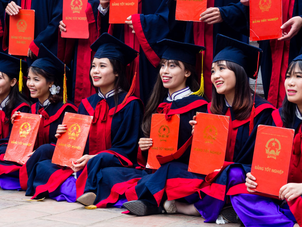 Vietnamese graduates at the Temple of Literature in Hanoi