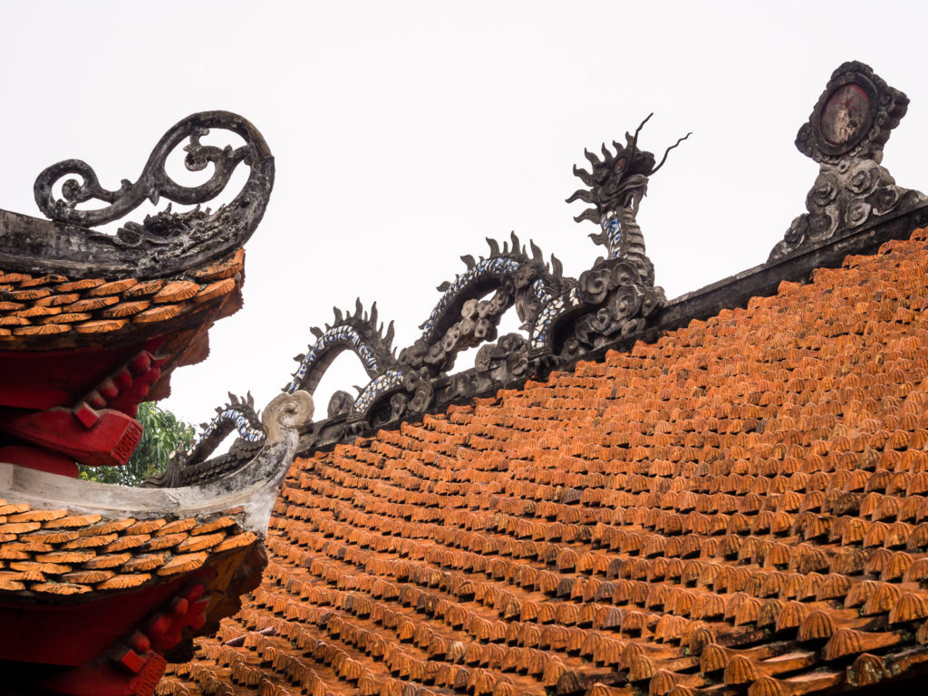 Roof of the Temple of Literature in Hanoi