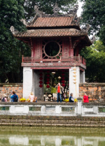 Inside the Temple of Literature in Hanoi