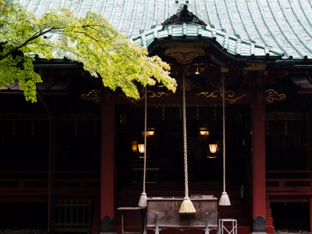 Main building of Akasaka Hikawa shrine in Tokyo (Japan) dates to 1730