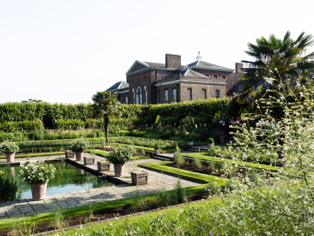 Kensington Palace and Sunken Garden in London