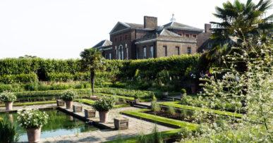Kensington Palace and Sunken Garden in London