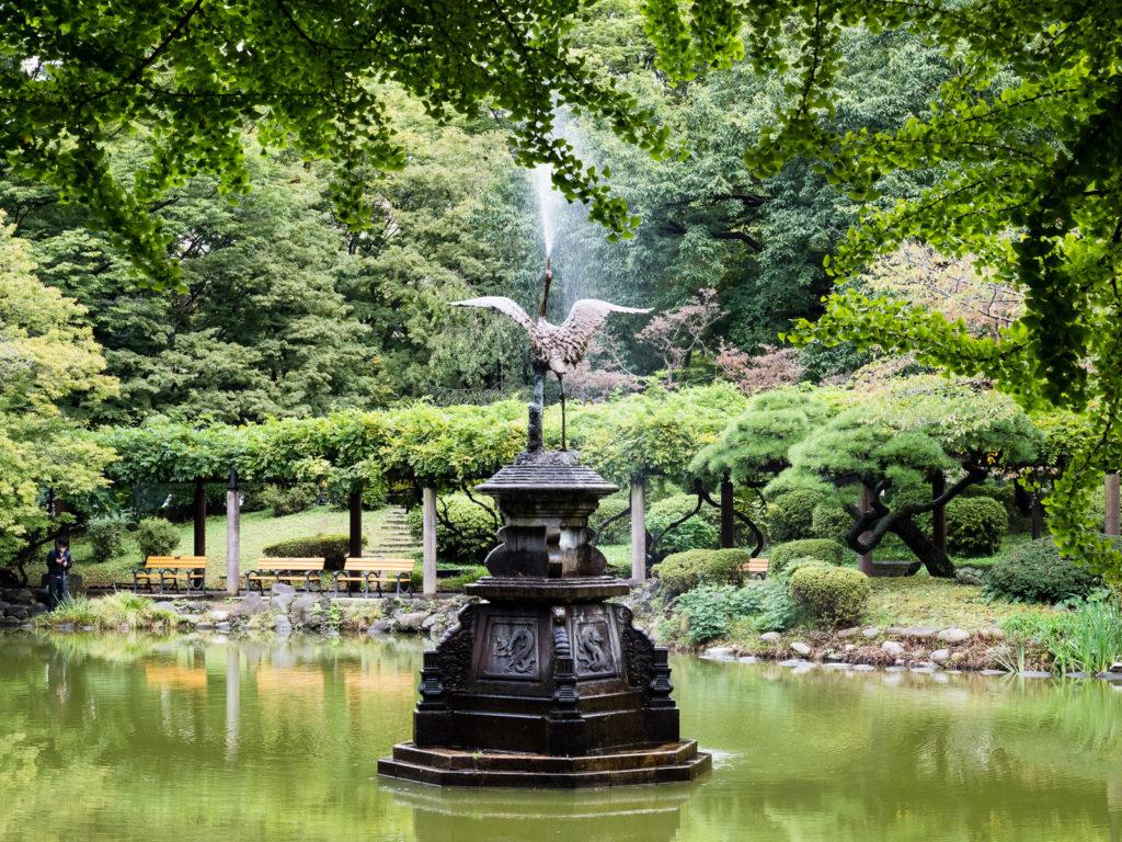 Crane fountain in Hibiya park, Tokyo