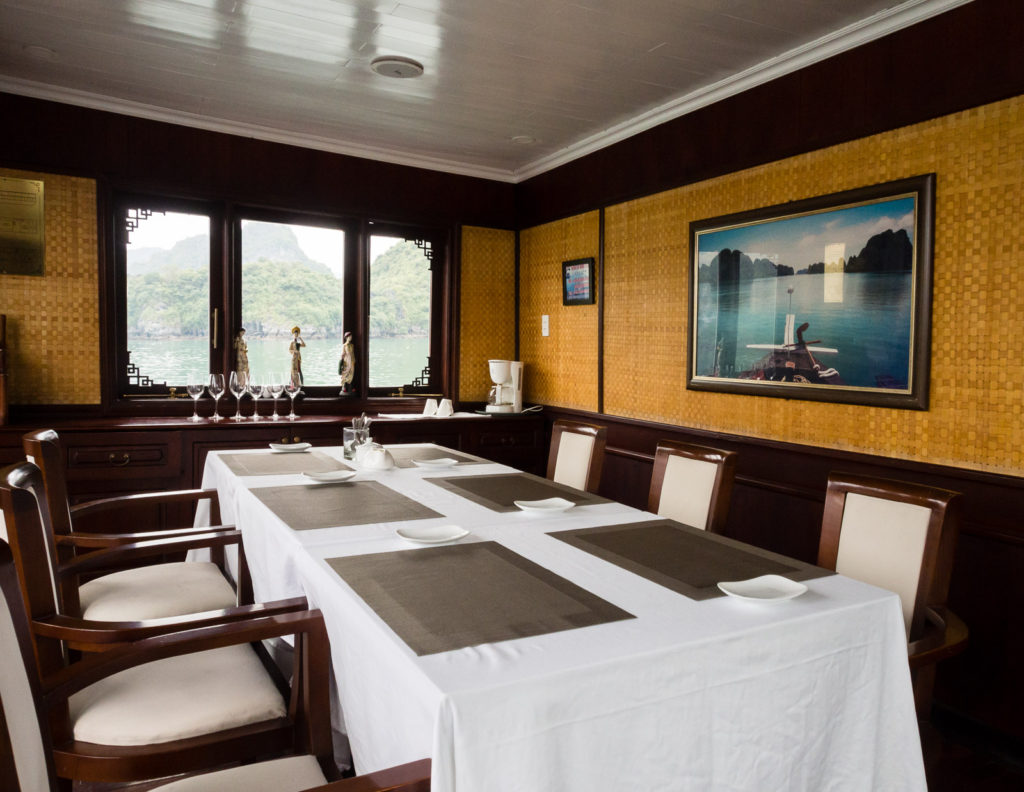 Dining room on Bhaya Legend premium cruise boat - Halong Bay, Vietnam