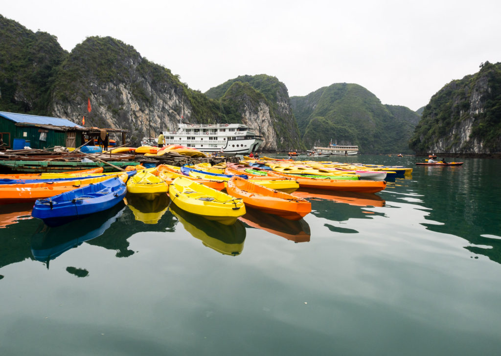 Kayaks in Halong Bay, Vietnam