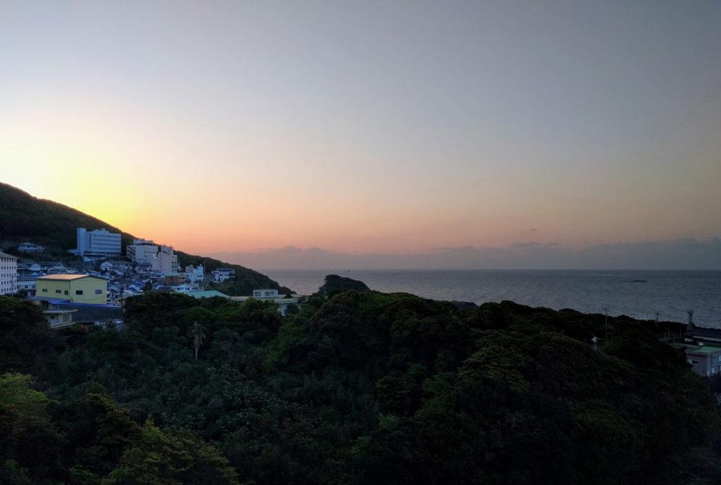 Sunrise on cape Ashizuri, view from Ashizuri Kokusai Hotel guest room