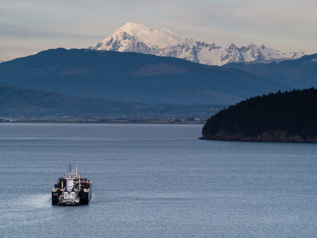 View of Mount Baker over Padilla Bay - Washington state, USA