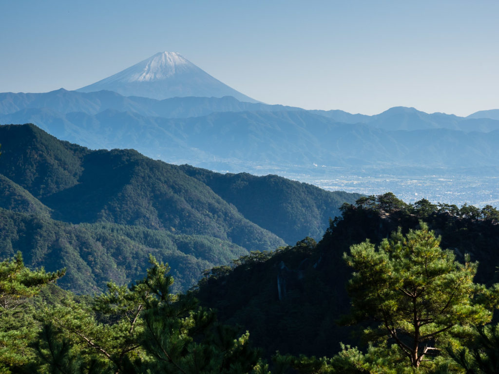View of Mt Fuji from Shosenkyo ropeway ovservation point