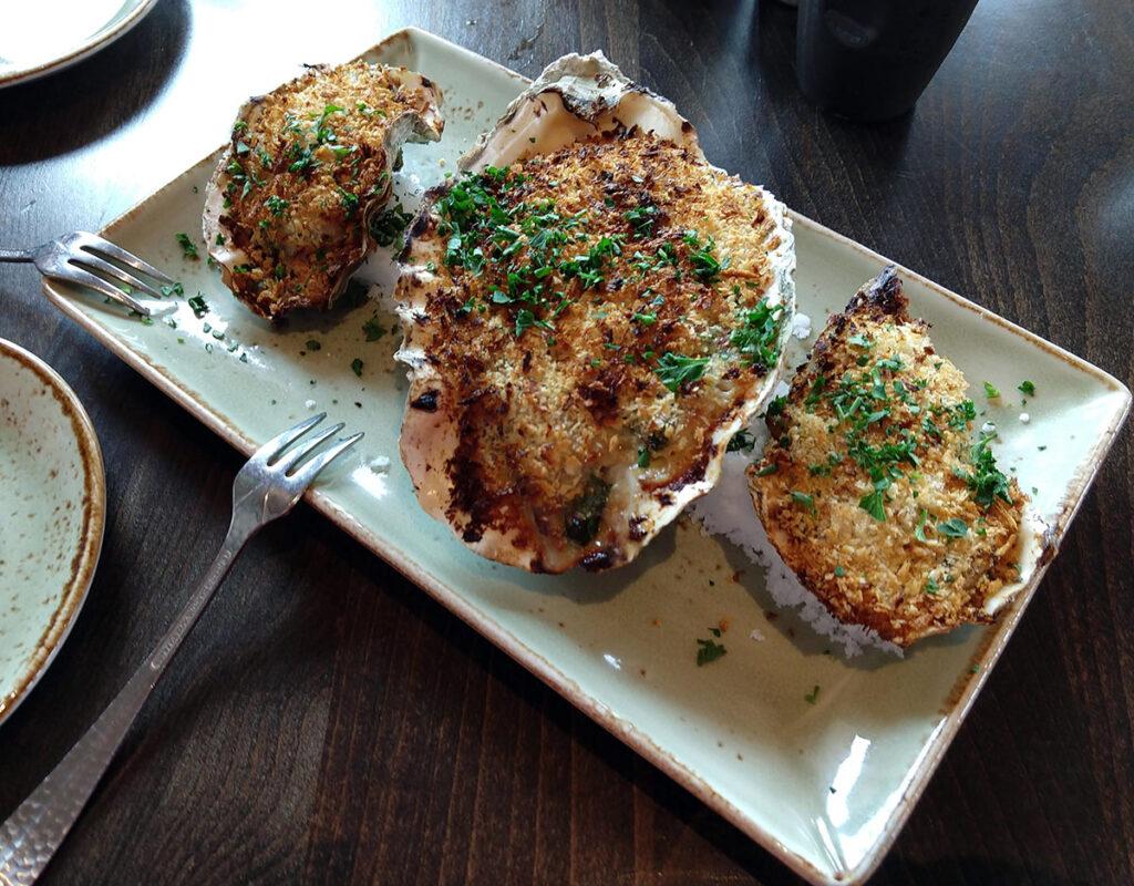 Downriggers restaurant baked oysters (Friday Harbor, San Juan Island, WA)