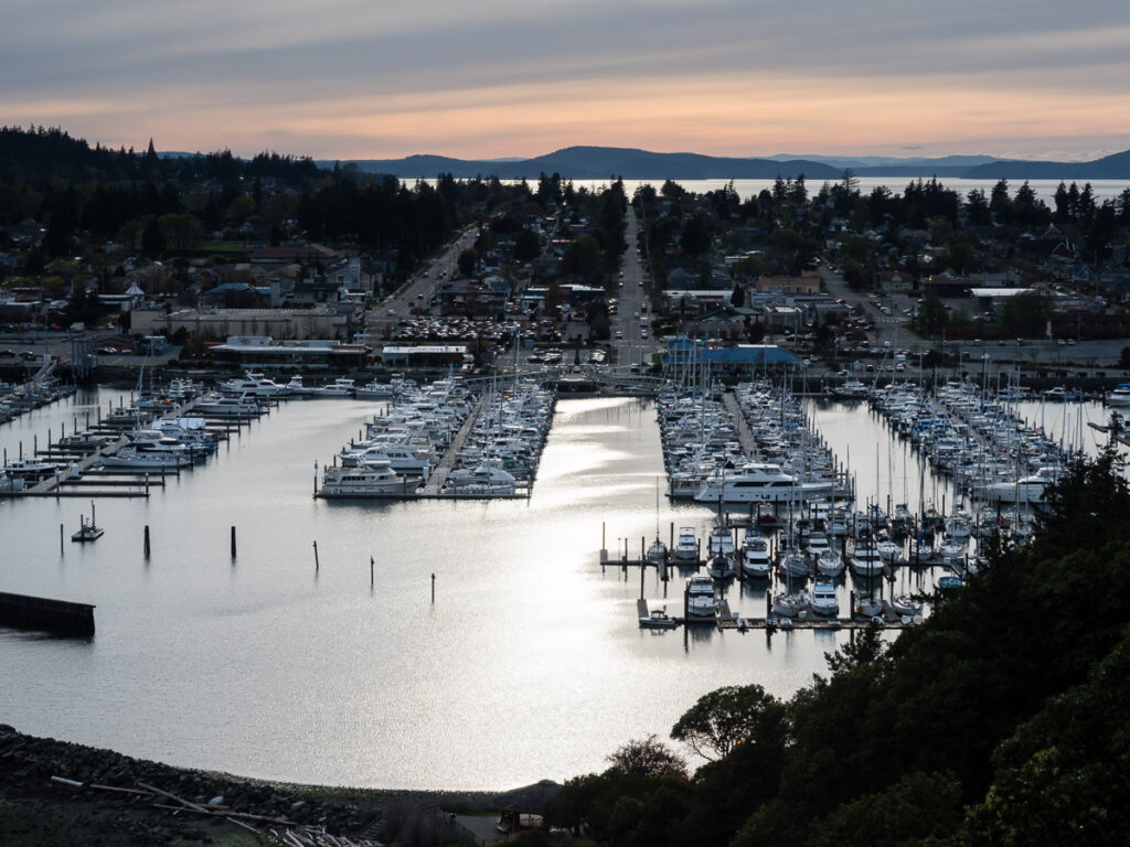 Anacortes downtown and marina at sunset, view from Cap Sante park