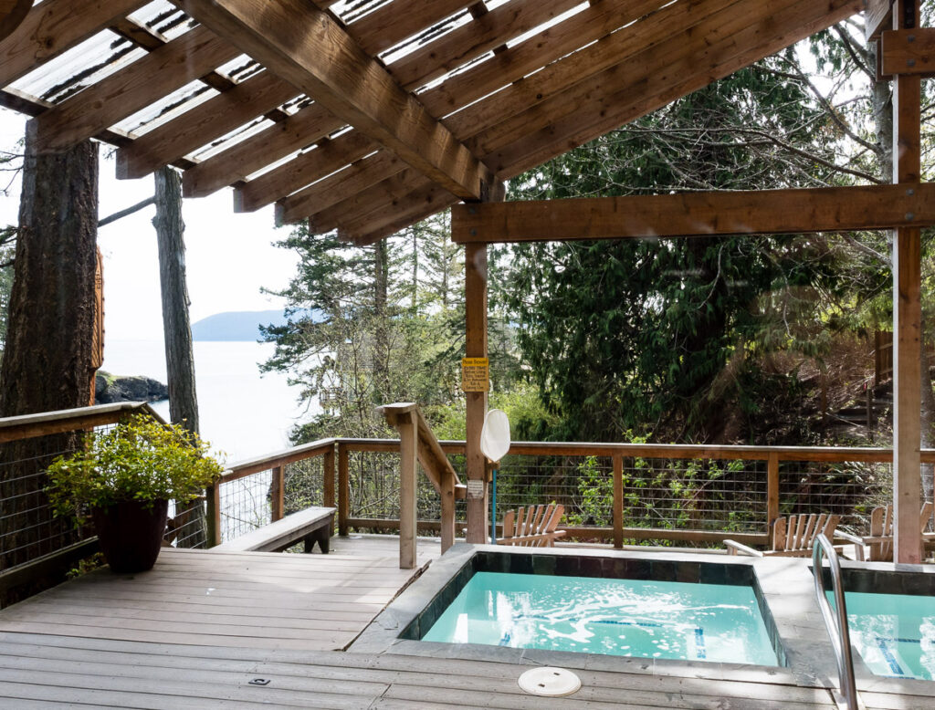 Outdoor bath at Doe Bay Resort on Orcas Island