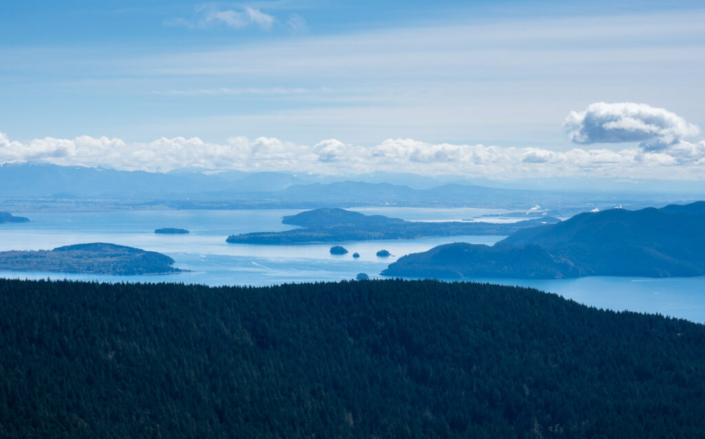 Scenic view from the top of Mount Constitution on Orcas Island - San Juan Islands, WA, USA