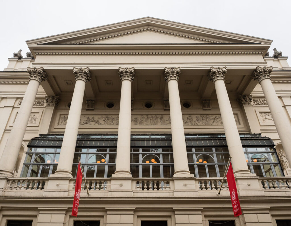 The facade of Royal Opera House in London